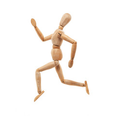 Wood model with running pose isolated on white
