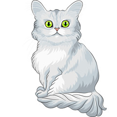 Vector cute blue Tiffany cat sitting