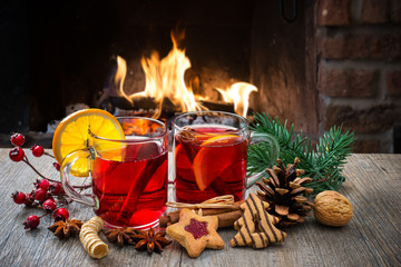 Wall Murals Christmas Mulled wine at romantic fireplace