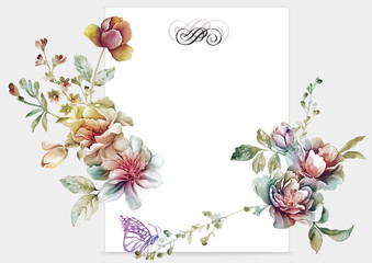 watercolor floral illustration un a shape of the wreath perfect