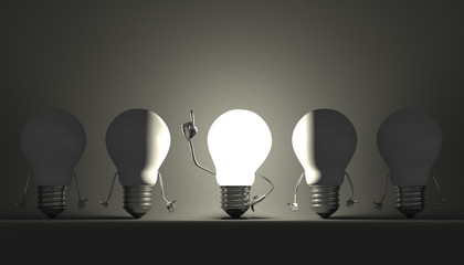 Light bulbs, moment of insight on gray
