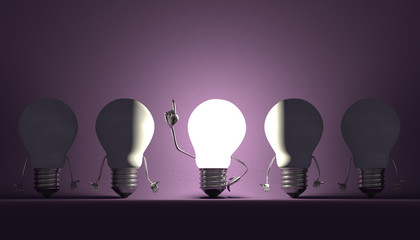 Light bulbs, moment of insight on violet