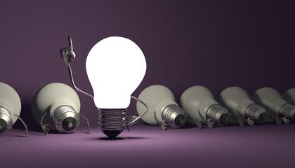 Light bulb character, aha moment  on violet