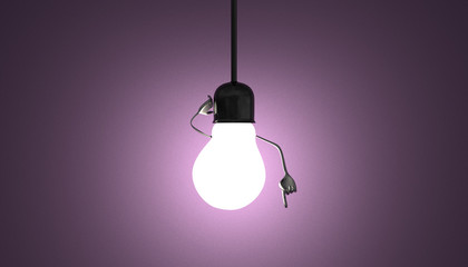 Light bulb character in socket, moment of insight on violet