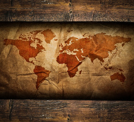 Vintage paper map in old wooden frame