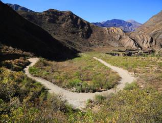 Mountain road in Cordiliera Huayhuash, Peru, South America