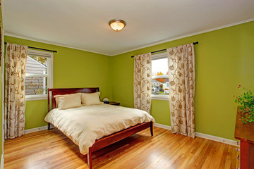 Bedroom with bright neon green walls