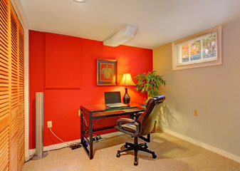 Office room in contrast bright colors