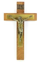 Kruzifix isoliert auf weißem Hintergrund