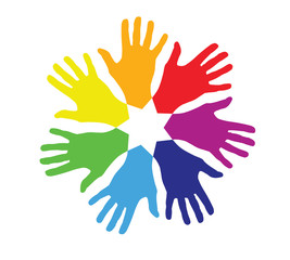 colored hands in a circle
