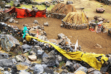 Mountain village Cordiliera Huayhuash, Peru, South America