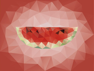 Polygon abstract watermelon background
