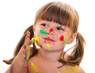 beautiful little girl with painted face