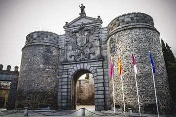 main gate walls of the city of Toledo in Spain, walled town