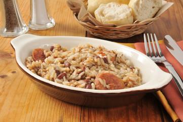 Cajun sausage, bean and rice casserole