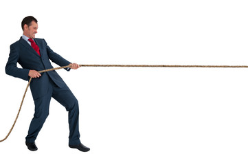 businessman pulling a rope Wall mural