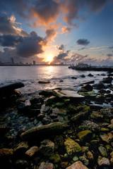Havana bay entrance at sunset