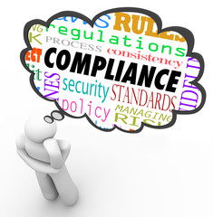 Fototapete - Compliance Thinker Thought Cloud Follow Rules Regulations