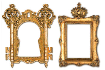 vintage golden picture frames isolated on white