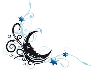 Ranke mit Mondsichel und Sternen. Mond, Schlaf, Traum.