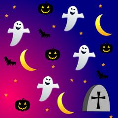 Sfondo di Halloween con fantasmi e zucche