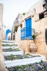 Old street in Pyrgos village on the island Santorini, Greece