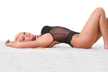photo sexy blonde in black lingerie. white background