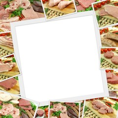 Photos collection of raw meat with copy space