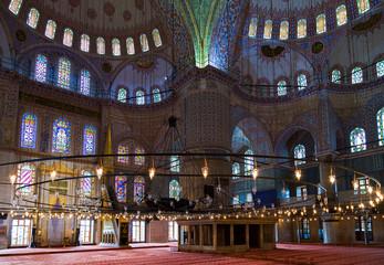Inside Sultanahmet Mosque in Istanbul, Turkey