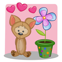 Dog with heart and flower