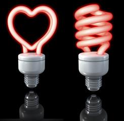 Rote Neonlampen, herzförmig, spiralförmig, 3d rendering
