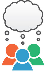 Icon with group in different colors with blank thought bubble