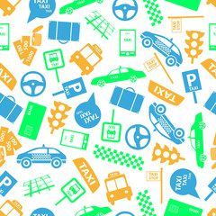 taxi icons color seamless pattern eps10