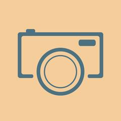 blue camera icon on orange background