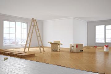 Obraz Renovierung von Zimmer in Wohnung - fototapety do salonu