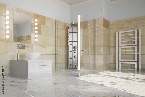 Wasserschaden im Badezimmer nach Hochwasser\