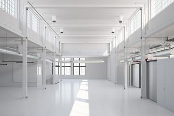 Leere weiße Halle für Gewerbe