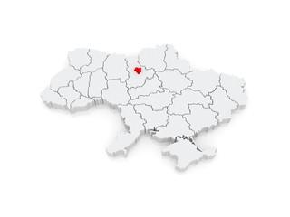 Map of Kiev. Ukraine.