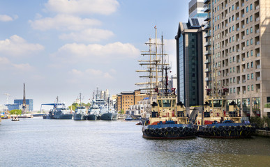 Old British ship based in Canary Wharf dock
