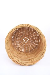 Rattan basket on isolated white background