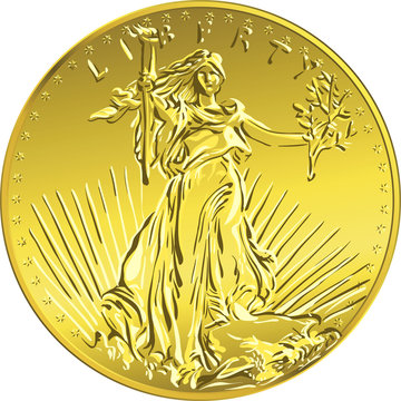 Vector American money gold coin Liberty