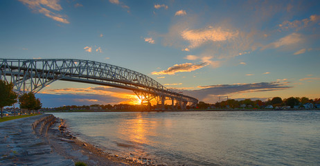 Bluewater Bridge, Sarnia, Ontario sunset
