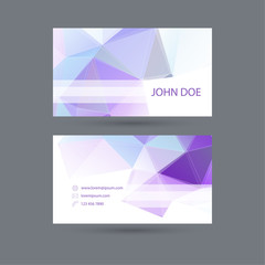 Modern  business card template with  polygonal mesh.