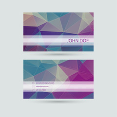 Modern  business card template with  polygonal mesh