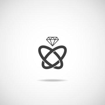 Wedding rings vector icon.