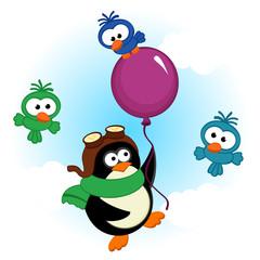 penguin on balloon - vector  illustration, eps
