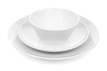 White ceramic dish set with plates and bowl