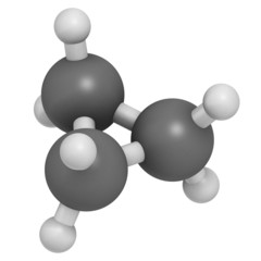 Cyclopropane cycloalkane molecule. Used as anaesthetic.