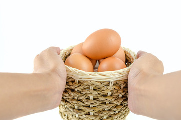 Brown Egg in the basket on isolated background
