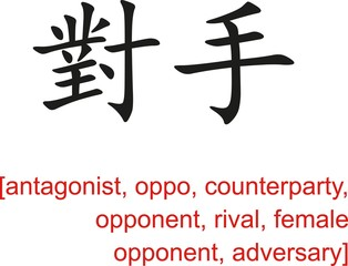 Chinese Sign for antagonist, oppo, counterparty, opponent,rival